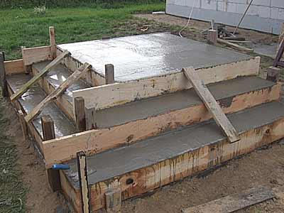 Опалубка заполнена бетоном