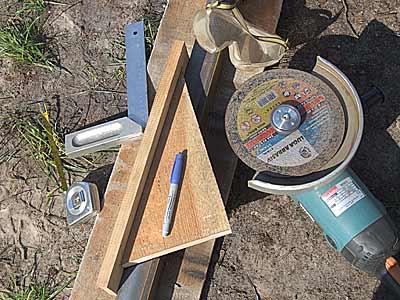Заготовка стоек ограждения по шаблону