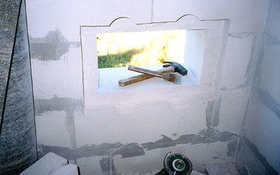 Выборка четверти в проеме для установки малых окон